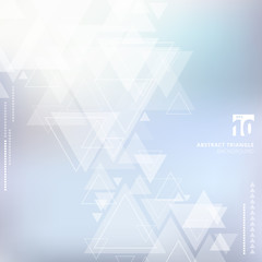 Abstract technology blue blurred background with triangles pattern overlay