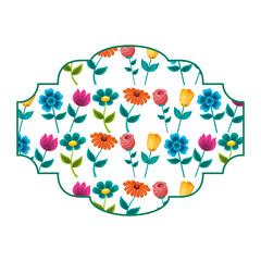 decorative label flowers petal stem spring style vector illustration