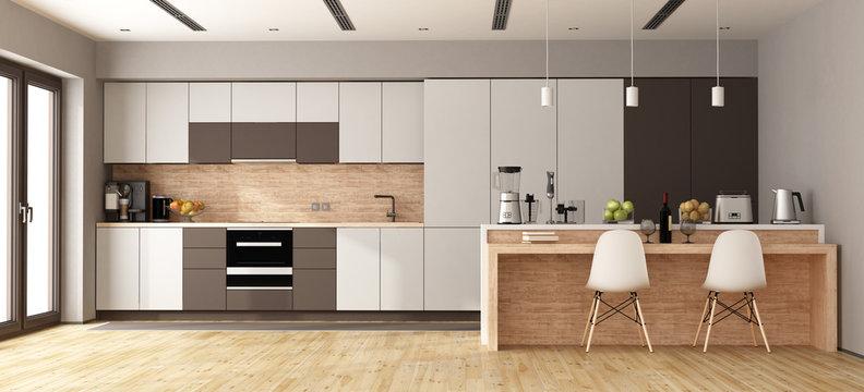 White and brown modern kitchen