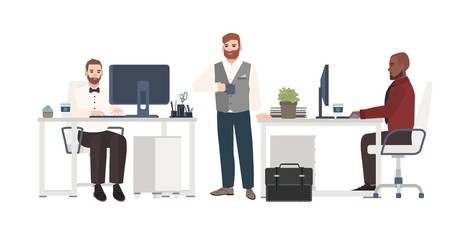 Men dressed in business clothes working at office. Male cartoon characters standing, drinking coffee and sitting at desks with computers. Clerks at workplace. Vector illustration in flat style