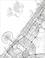 Black and white vector city map of Dubai with well organized separated layers.