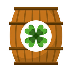 wooden barrel with clover concept vector illustration