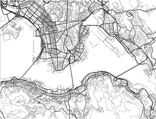 Black and white vector city map of Hong Kong with well organized separated layers.