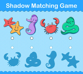 Kids shadow matching puzzle game with sea life