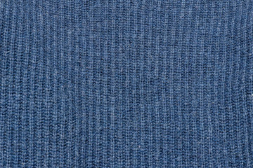 Blue Knitted texture. Close up