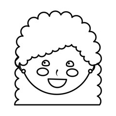young cute girl face happy character vector illustration outline design