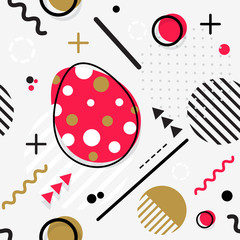 Trendy seamless, Memphis style Easter geometric pattern, vector