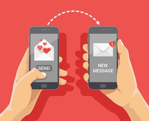 Sending love message concept. Hand holding phone with closed envelope, send button and notification with heart. Finger touch screen. Vector flat cartoon illustration for web sites, banners design