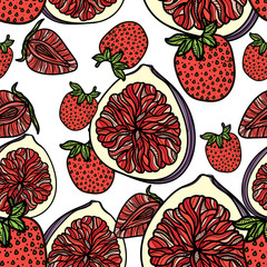 Seamless pattern with strawberries and figs.