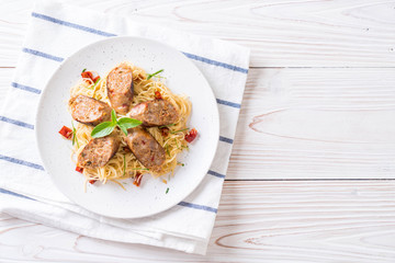 Stir-Fried Spaghetti with Sai Aua (Notrhern Thai Spicy Sausage)