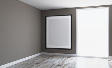 Blank room. 3D rendering. Empty paintings