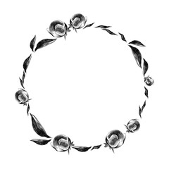 round frame from the buds and leaves of the sketch vector graphics monochrome drawing