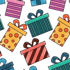 seamless pattern decoration celebration gift boxes vector illustration