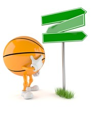 Basketball character with blank signpost