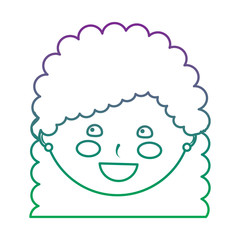 young cute girl face happy character vector illustration color line gradient