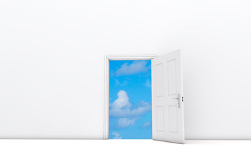 Open door view view to blue sky. 3D Rendering