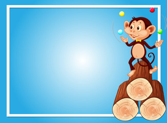Blue background template with monkey juggling balls