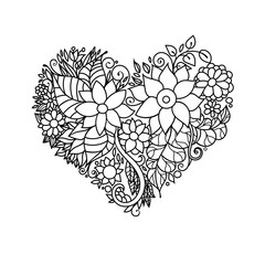Ornamental St.Valentine's greeting card with colorful zentangle floral heart sketch. Vector heart illustration with flowers and leaves pattern.