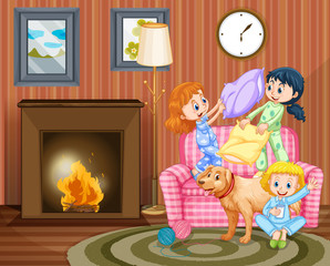 Three girls and dog in living room