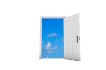 Open door view view to blue sky. 3D Rendering