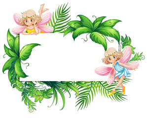 Border template with two fairies in garden