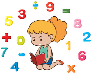 Little girl and many numbers