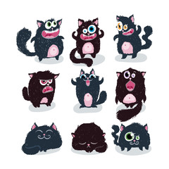 Cutest doodle monster cats. Vector elements collection