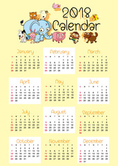 Calendar template for 2018 with cute animals