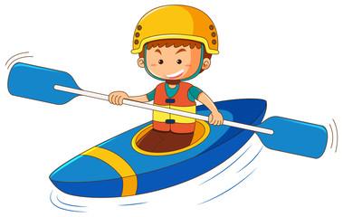 Boy in blue canoe