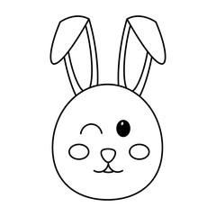 cute bunny face cartoon funny animal vector illustration