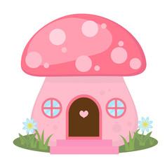 Mushroom house icon, cartoon style. Isolated on white background. Vector illustration