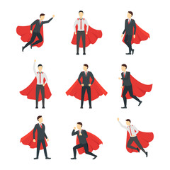 Cartoon Businessman Superhero Characters Icon Set. Vector