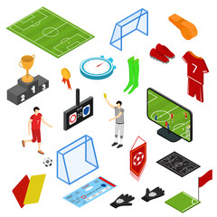 Football or Soccer Game Icons Set Isometric View. Vector