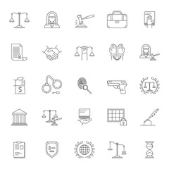 Law and Lawyer Signs Black Thin Line Icon Set. Vector