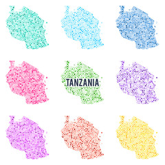 Vector dotted colourful map of Tanzania.