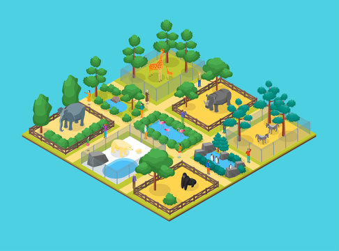 Zoo Concept 3d Isometric View. Vector