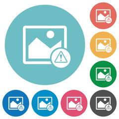 Image warning flat round icons