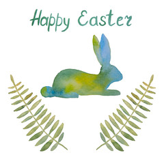 Beautiful postcard with a rabbit and leaves and wishes of a happy easter painted with watercolor on a white background