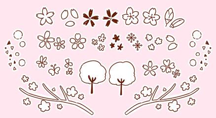 かわいい桜の手描き風アイコンセット(モノクロ)