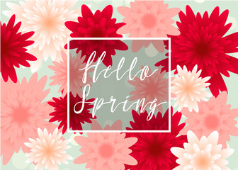 Spring, floral greeting card, paper flowers.