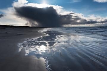 Windy day bay Baltic sea next to Liepaja, Latvia.