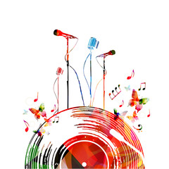 Colorful music poster with vinyl record and microphones. Music elements for card, poster, concert invitation. Music notes background design vector illustration