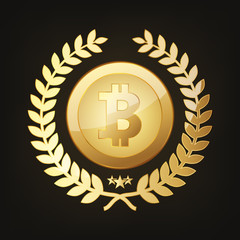 Golden Bitcoin icon. Vector illustration