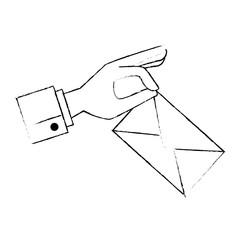 hand with envelope mail vector illustration design