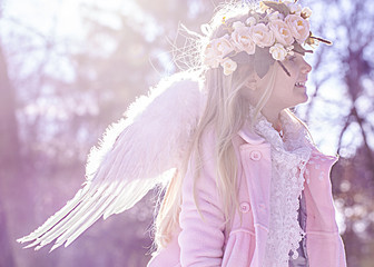Beautiful angel girl outside