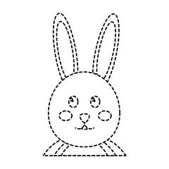 cute bunny portrait cartoon funny animal vector illustration sticker design
