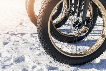 close up of fatbike tires in the snow