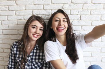 Portrait of two millennial females, fooling around in front of mobile smartphone camera. Brown eyed model girls with long brunette wavy hair and beautiful smiles in white blank and checkered shirt.