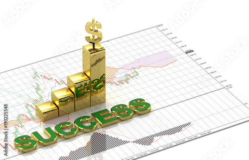 Gold And Dollar Symbol And Text Success On Top Candlestick Graph