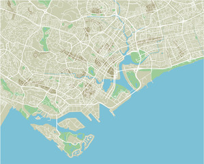 Vector city map of Singapore with well organized separated layers.